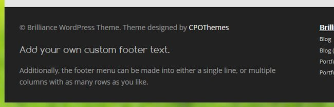 Did you know? Brilliance lets you add shortcodes into the header & footer, making it really flexible.
