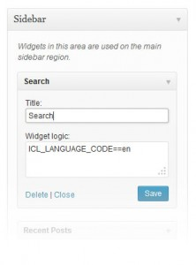 A WordPress widget using the Widget Logic plugin.